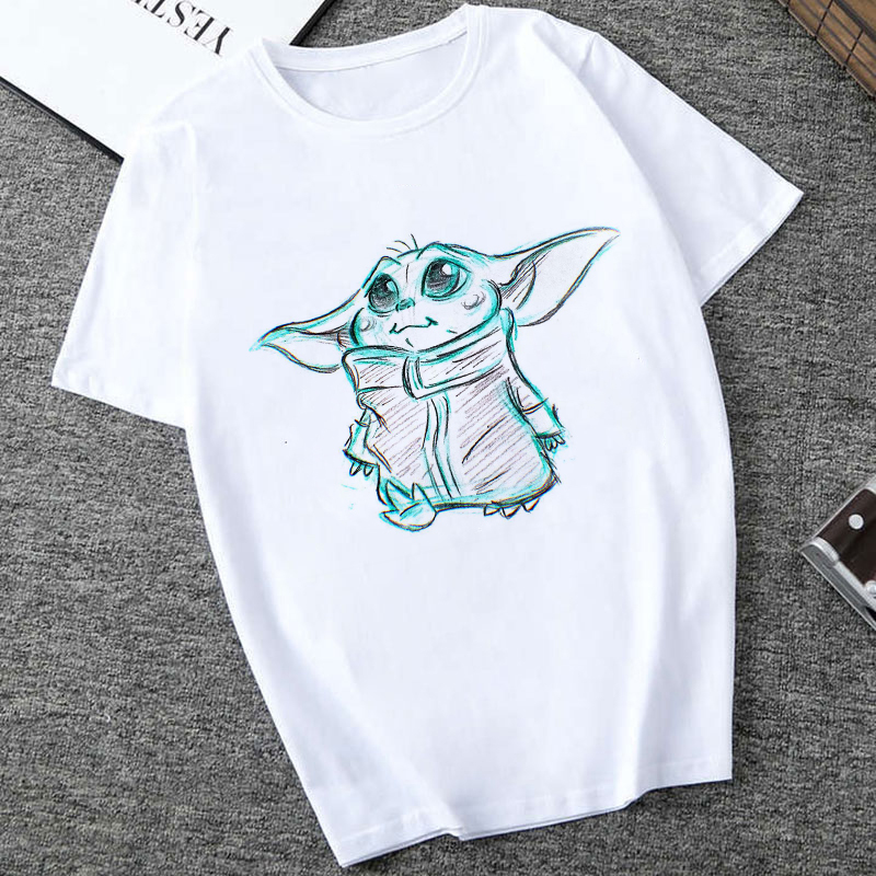 Showtly  2019 STAR WARS Men/Women Cute Tiny Yoda Kids Printed T-shirt  Fantastic Mandalorian Baby  Design Tee Tops