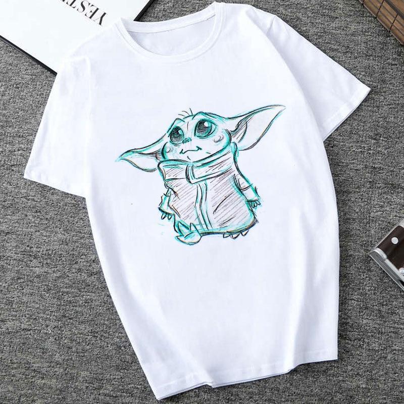 Showtly  2019 STAR WARS Men/Women Cute Tiny Yoda Kids Printed T-shirt  Fantastic Mandalorian Baby  Design Tee Tops