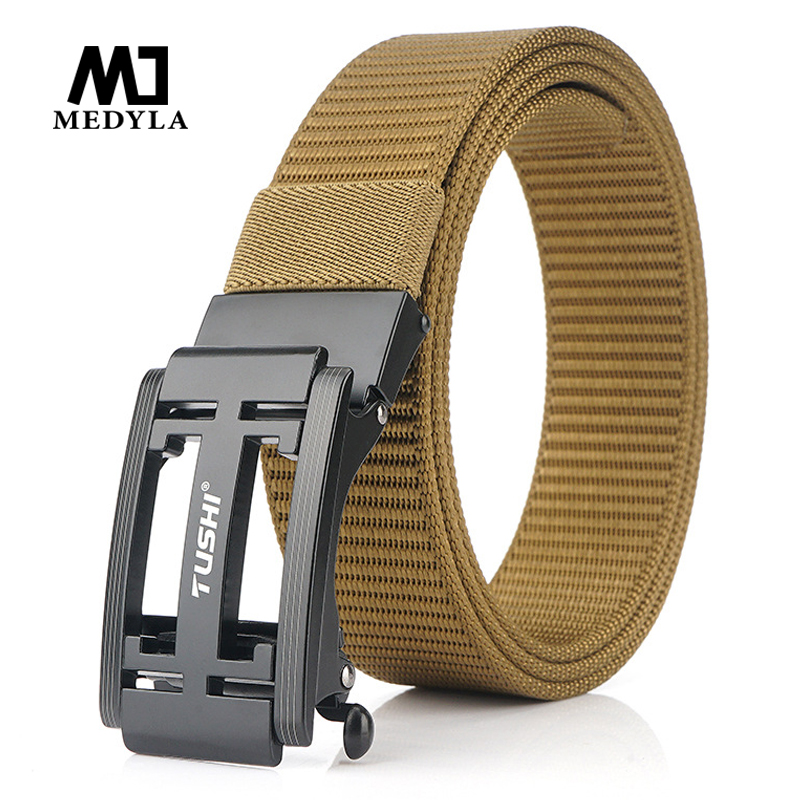 Medyla 2020 New Canvas Belt Outdoor Wild Automatic Buckle Belt Men's Quick-drying Nylon Alloy Buckle Jeans Belt Dropshipping