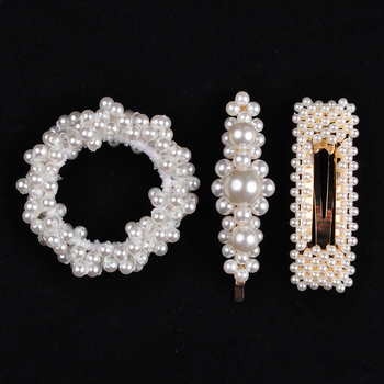 14 Colors Woman Elegant Pearl Hair Ties Beads Girls Scrunchies Rubber Bands Ponytail Holders Hair Accessories Elastic Hair Band 19