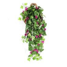 Поддельные Петуния лоза Висячие Цветы зеленый лист Висячие венок из виноградных листьев искусственный цветок для стены украшение дома балконное украшение