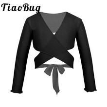 Wrap-Top Shrug Long-Sleeve Wedding Girls Mesh with Adjustable Tie Closure for Party Ballet-Costume