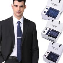 Luxury Mens Hanky&Cufflinks&Tie Sets Neckwear 7.5cm 100% Sil