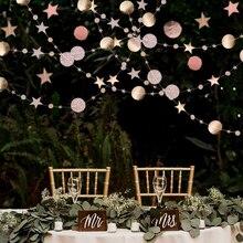 4M זהב וכסף כוכב עגול באנר מראה נייר גרלנד לחתונה מסיבת יום הולדת אספקת דקו DIY בית & סלון קיר תלוי