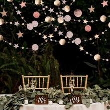 Bandeira redonda ouro e prata 4m, bandeira de papel espelhada guirlanda para casamento festa de aniversário suprimentos diy casa & pendurado de parede para sala