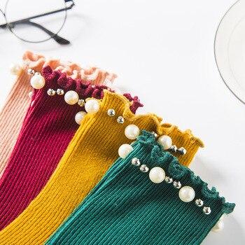 20 Pairs Per Set Japanese Style Women's Pearl Socks with Ear Edge Wholesale Middle Tube Female Gift Kawai Socks