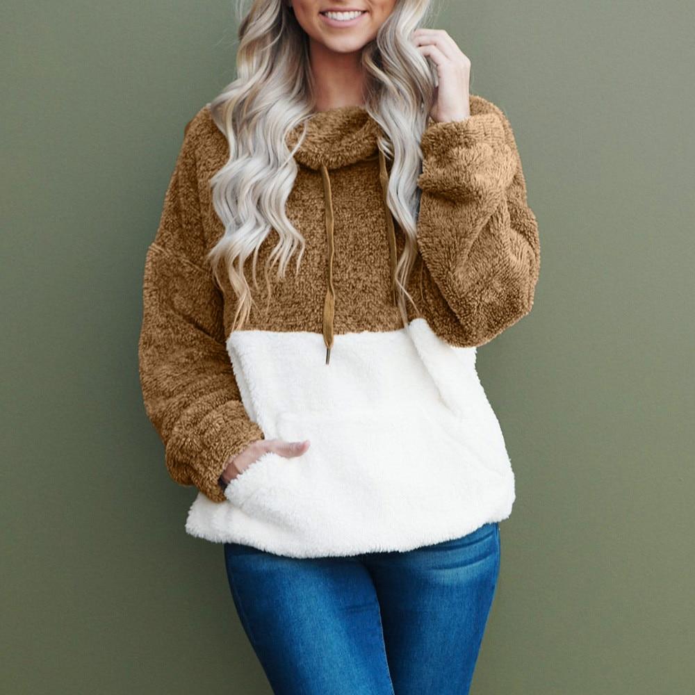 Winter Faux Fur Plush Turtleneck Sweater Women Thicken Warm Long Sleeve Pockets Pullover Sweater Female Jumper Women Lady Tops 1