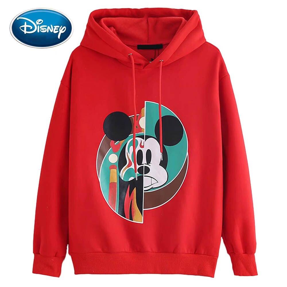 Disney Sweatshirt Mickey Mouse Peking Opera Cartoon Print Hooded Pullover Cute Streetwear Red Women Sweatshirt Long Sleeve Tops