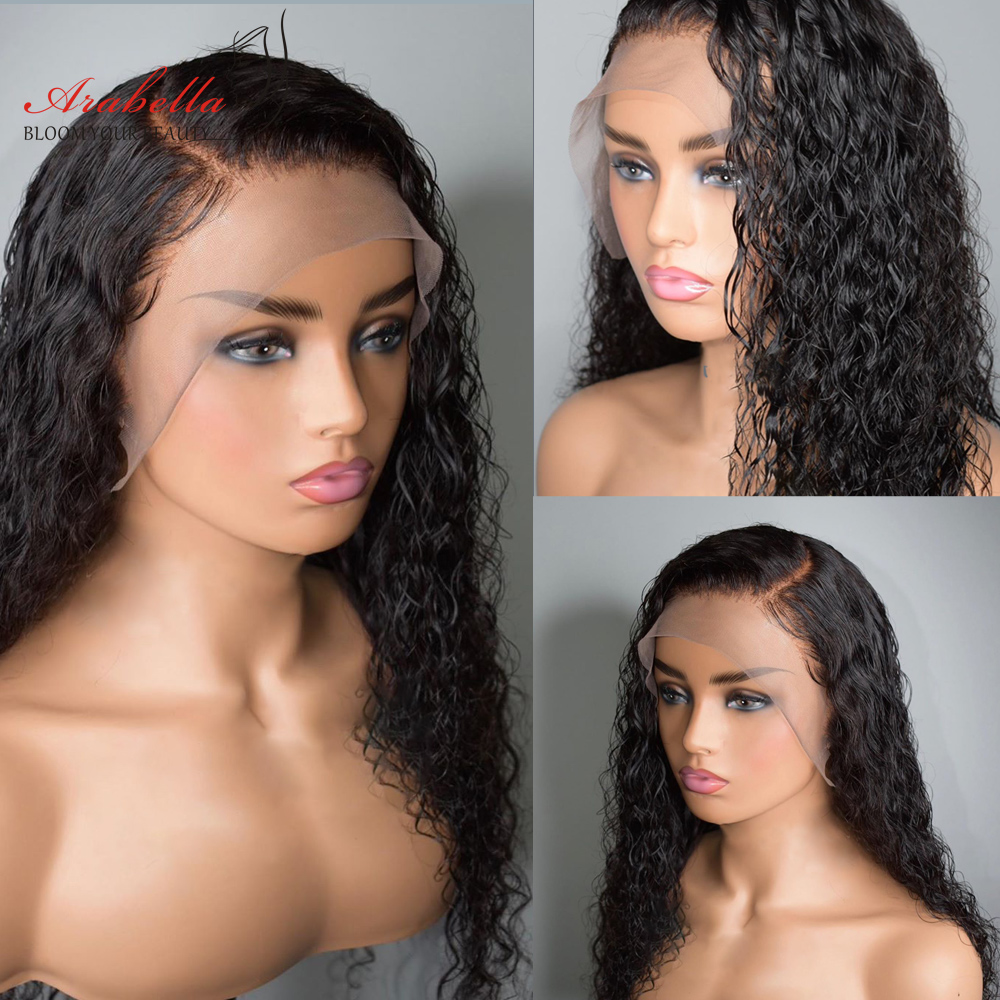 Transparent Lace Front Wig Water Wave  Wig Pre Plucked Lace Wig With Baby Hair  13X4 Lace Frontal Water Curly Wig 4