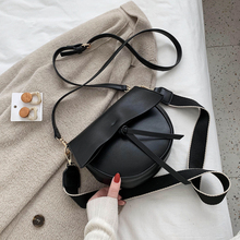 цена на Solid Color PU Leather Saddle Bags For Women 2020 Female Shoulder Bags With Wide Strap Handbags Crossbody Bags For Girls
