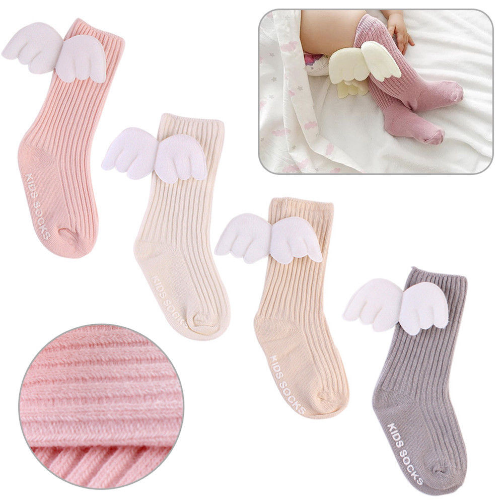 0-4Years Cute Baby Kids Toddler Girl Boys Soft Knee High Leg Warmer Angel Wings Socks Super
