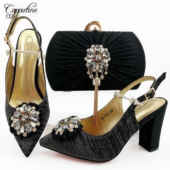 Fashionable Italy Design Rhinestone Shoes And Bag Sets New Arrival African Women High Heels 9CM Shoes And Bag Set For Party