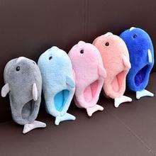 Тапочки детские с дельфином меховые шлепанцы рисунком животных