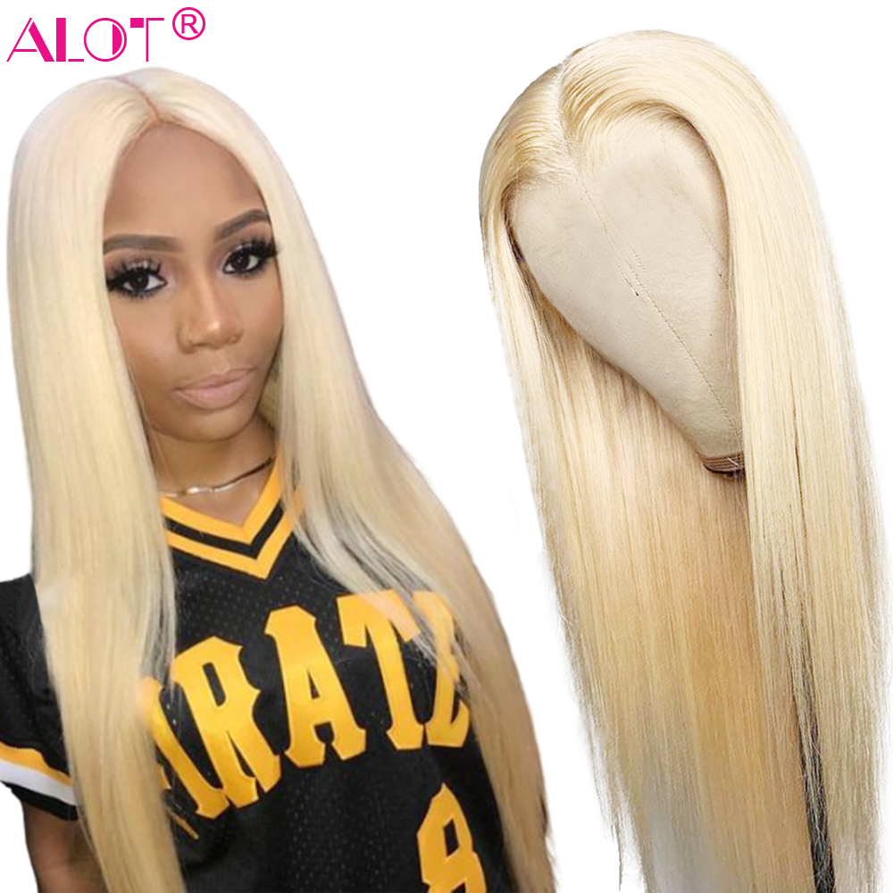 Blonde 4x4 Lace Closure Wig Brazilian Straight 613 Wig Glueless Lace Closure Wig Remy Human Hair Wigs For Women 150 Density Alot