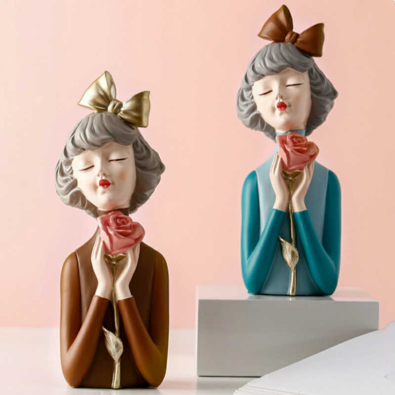 abstract girl statue Decoration for Home luxury creative girl Figures Sculpture Bedroom Living Room Desk ornament Home Decor