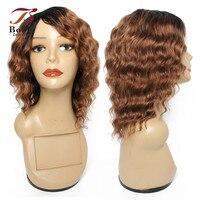 Bobbi Sammlung Menschliches Haar Perücken Ombre Braun Auburn 1B 30 Tiefe Welle Günstige Maschine Gemacht Perücke Kurze Haare Stil Indische remy Haar