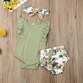 Baju Celana Ikat Kepala Bayi Hijau Floral 1