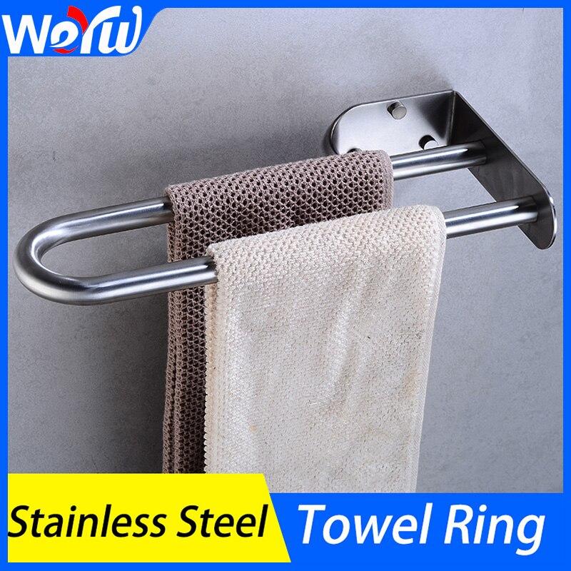 Towel Bar Stainless Steel Bathroom Towel Rings Rack Holder Wall Mounted Toilet Towel Rack Hanger Shelf