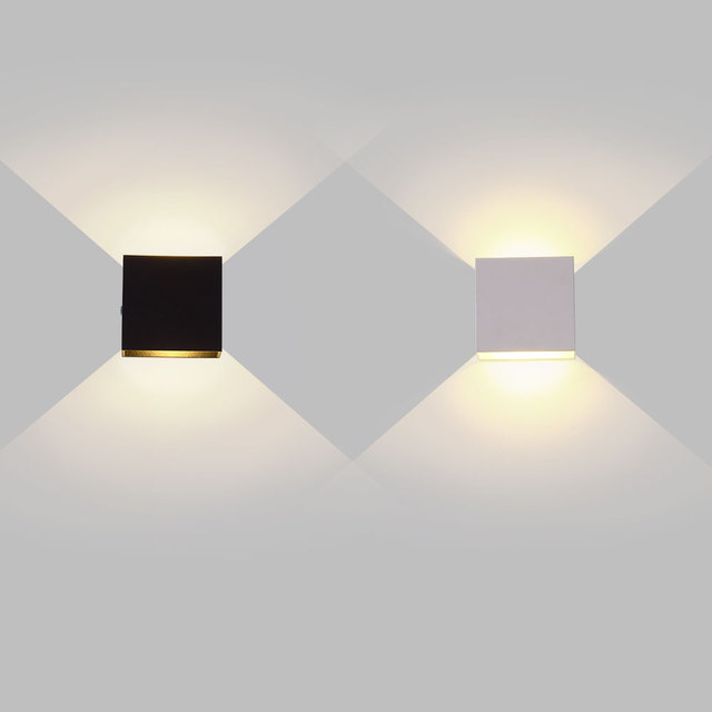 6W 12W lampada LED Aluminium wall light rail project Square LED wall lamp bedside room bedroom wall decor arts 1