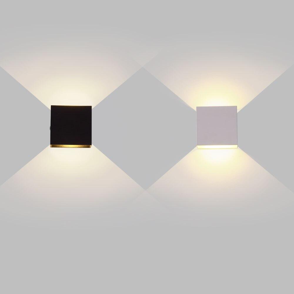 6 واط lampada LED الألومنيوم جدار قضبان للقطار الخفيفة مشروع مربع وحدة إضاءة LED جداريّة مصباح السرير غرفة نوم جدار ديكور الفنون