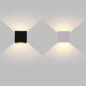 6W 12W lampada LED aluminiowa ściana lekka szyna projekt kwadratowa LED kinkiet nocna sypialnia dekoracje ścienne sztuki tanie i dobre opinie GPED ROHS CN (pochodzenie) W górę iw dół KİTCHEN Do jadalni Do sypialni foyer do nauki Z aluminium Akrylowe WL-AL-5CM