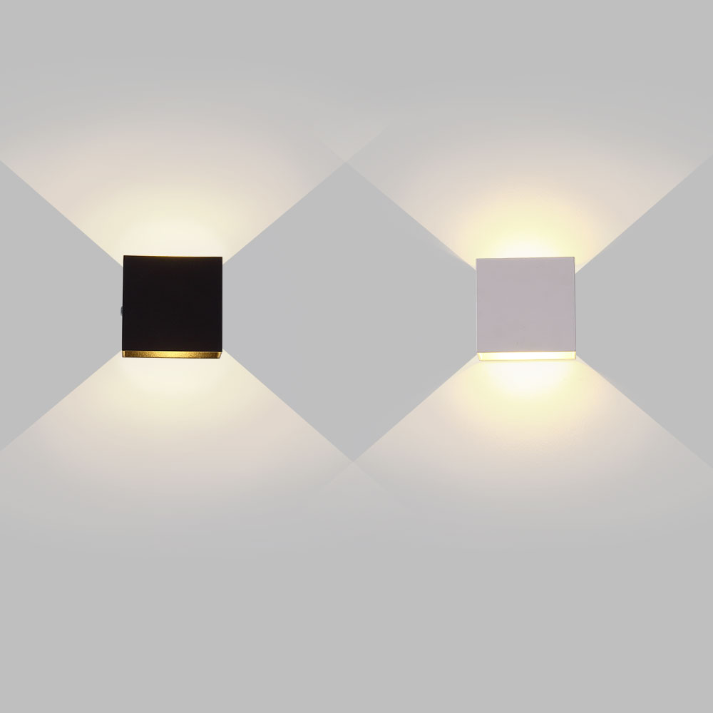 6W Lampada LED Aluminium Wall Light Rail Project Square LED Wall Lamp Bedside Room Bedroom Wall Decor Arts
