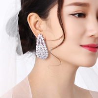 New Big dangle earring best wedding jewelry brincos Luxury accessories high quality white full crystal bridal party earrings
