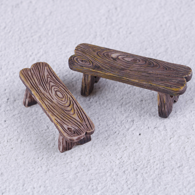 2pcs/lot Dollhouse Wooden Chair Stool Fairy Garden Miniatures Decor Couple Bench Action Figurine DIY Doll Houses Accesories