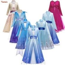 цена на New Elsa Anna 2 Dress With Cloak Crown Princess Girls Anna Costume Snow Queen Cosplay Dress Kids Hair Accessories Tiara Party