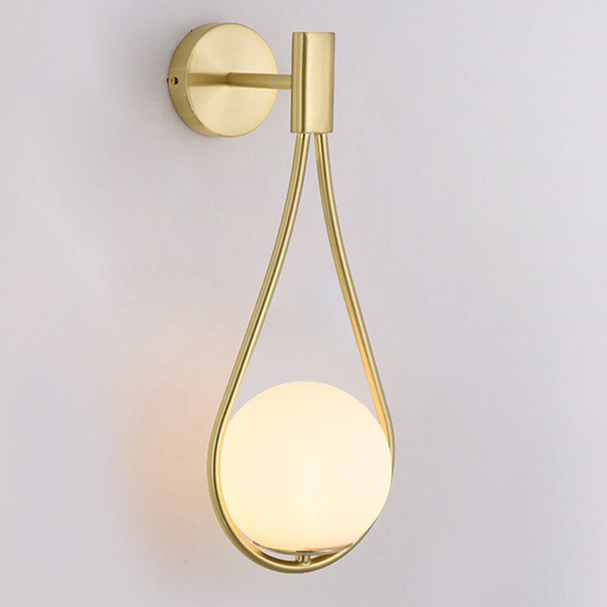 Nordic Black Golden Wall Lamp White Glass Shade Bedroom Bedside Restaurant Aisle Wall Sconce Bathroom Indoor Lighting Fixtures
