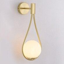 Nordic Black golden wall lamp white glass shade bedroom Bedside Restaurant Aisle Wall Sconce bathroom indoor lighting fixtures