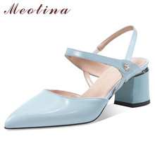 Meotina High Heels Women Pumps Natural Genuine Leather Square High Heel Party Shoes Real Leather Pointed Toe Shoes Lady Size 39 ladies real genuine leather high heel shoes women brand sexy pointed toe heels fashion pumps lady heeled shoes size 34 39 r08358 page 3