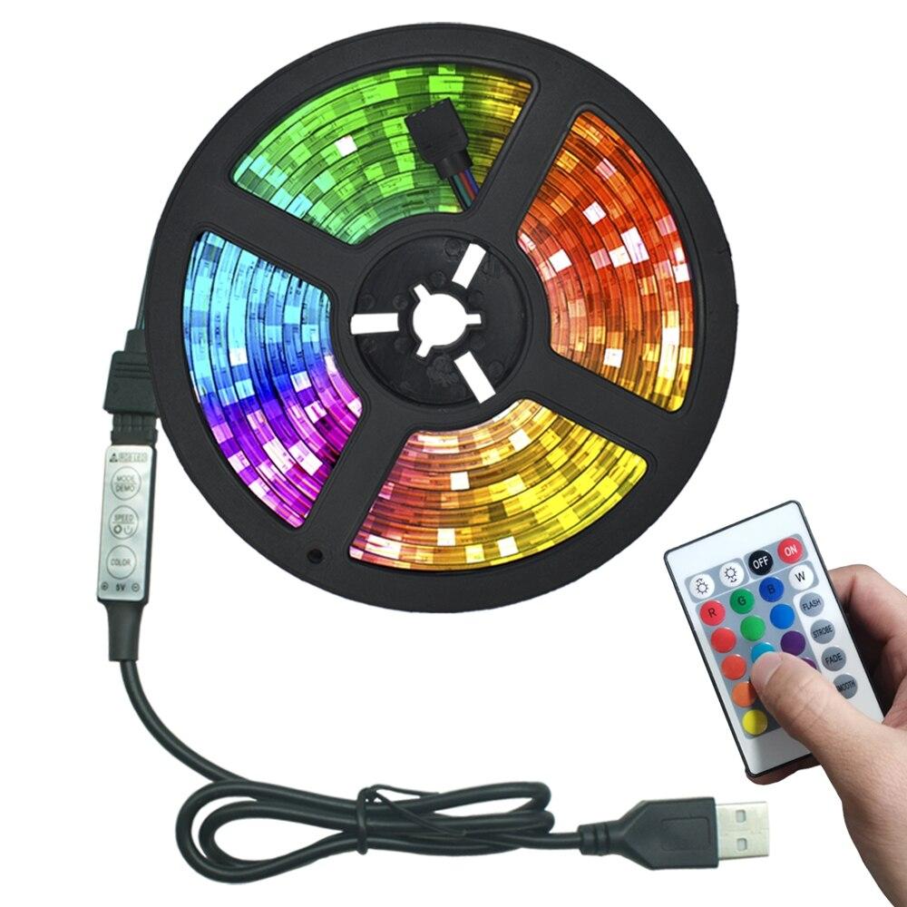 Luzes LED Tiras RGB Controle USB Infravermelho SMD2835 DC5V 1M 2M 3M 4M 5M Flexível luces Fita Lâmpada TV Fundo Iluminação de Diodo LED