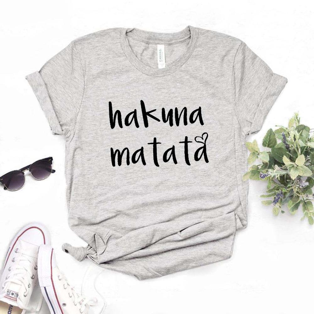 Hakuna Matata Heart Print Women Tshirts Cotton Casual Funny T Shirt For Lady  Yong Girl Top Tee Hipster 6 Color FH-7
