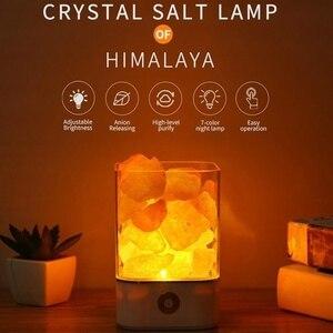 Sal de cristal família luz da noite lâmpada sal do himalaia portátil multa ocasião especial sala estar rocha natural carregamento usb