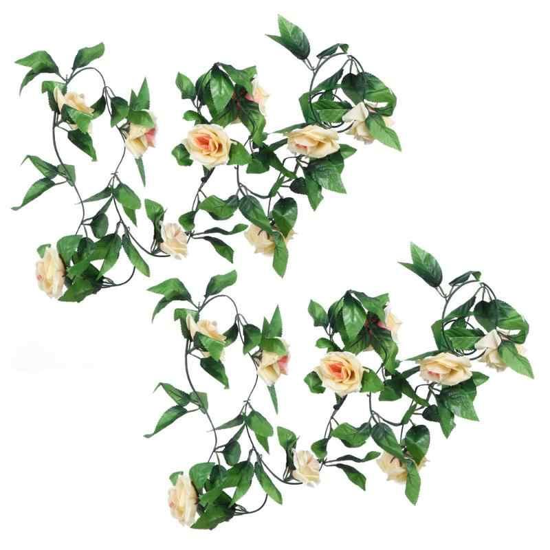 2,4 m Künstliche Gefälschte Seide Rose Ivy Blume Vine Garland Hochzeit Decor