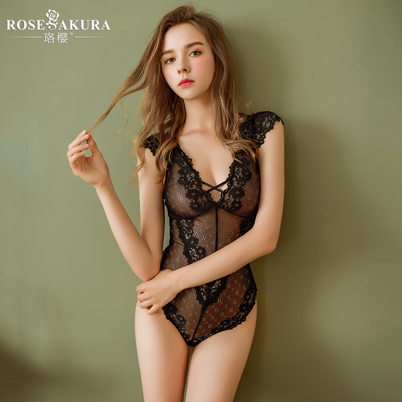 High-end sexy lingerie Openable backless see-through lace bodysuit lingerie open crotch Woman Low chest sexy lingerie Adult game title=