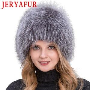 Image 2 - 뜨거운 판매 100% 천연 실버 폭스 모피 여성 겨울 모자 니트 모자 여성 모자 여우 모피 폭탄 모자 여성 귀 따뜻한 겨울해야합니다