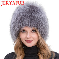 2019 Hot Sale 100% Natural Silver Fox Fur Women Winter Hat Knitted Cap Women Hat Fox Fur Bomber Hat Female Ear Warm Winter Must