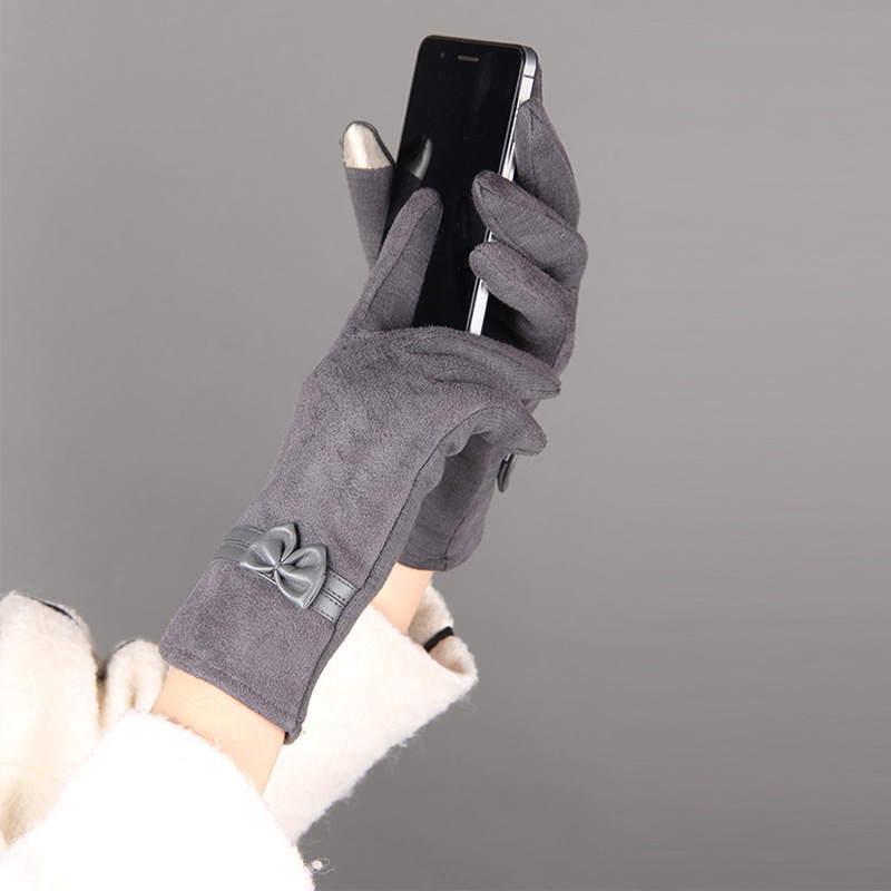New Fashion Female Gloves Winter Gloves Touch Screen Suede Elegant Warm Soft Wrist Bow Mittens For Women