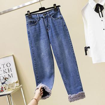 Velvet thick loose lamb wool stitching jeans women autumn and winter high waist straight denim pants r1884 Straight Jeans