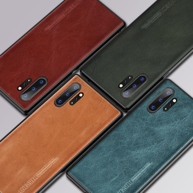 Genuine Oil wax Leather phone case for Samsung galaxy Note 10 Plus Note 20 10 9 8 A50 A51 A71 A70 S10 S8 S9 S20 Plus S20 Ultra