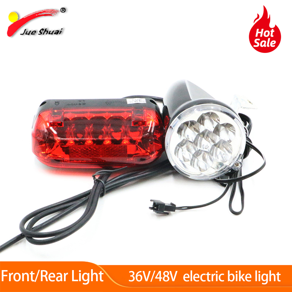 JS LED Electric Bicycle Light Kit 36V 12cm Wire Waterproof LED Front Bike Light And 36V E-bike Taillights Bicycle Accessories
