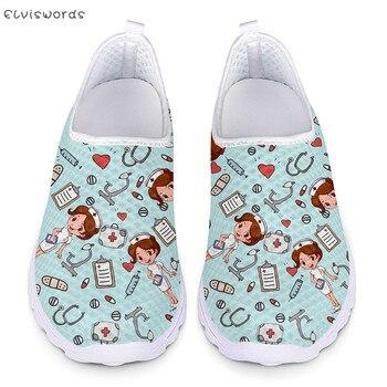ELVISWORDS bosquejo de enfermera Doctor, zapatos de enfermería diarios, zapatos de moda para mujer, cómodos planos de playa, zapatillas de deporte exteriores para mujer