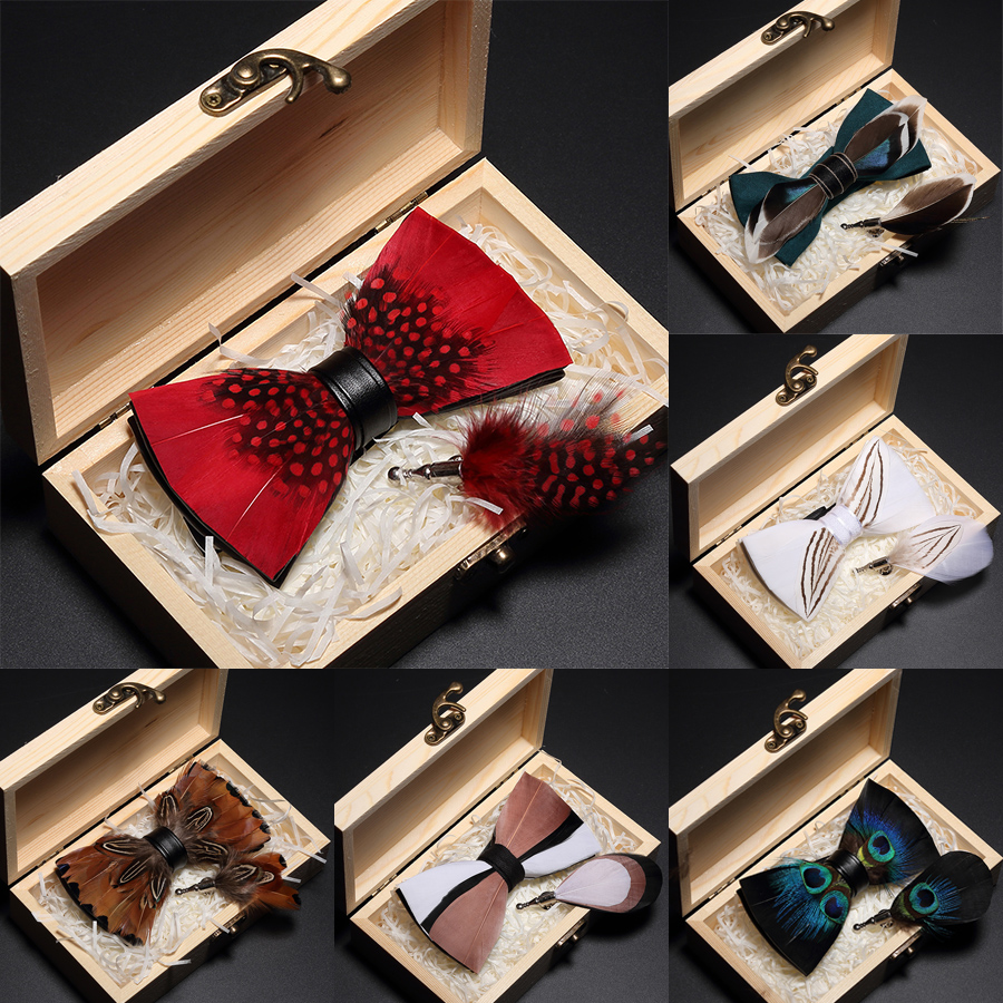 Ricnais Original Italy New Design Bowtie Natural Brid Feather Exquisite Hand Made Men Bow Tie Brooch Pin Wooden Gift Box Set Red