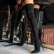 Botas Largas de tacón alto por encima de la rodilla para mujer, botas sexys de color negro con tacón elástico de 12cm para verano