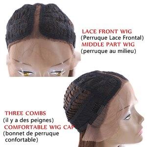 Image 5 - Perruque Lace Front Wig synthétique, cheveux lisses, style Yaki, couleur ombré noir rouge, X TRESS, longueur aux épaules pour femmes