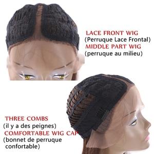 Image 5 - Yaki pelucas de cabello sintético con malla frontal para mujer Peluca de pelo rubio degradado, Color negro y rojo, longitud recta del hombro, con parte de encaje Roma