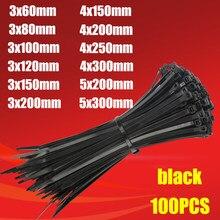 Laço plástico do cabo de náilon 100 pces preto 5x300 anel de fixação do laço do cabo 3x200 zíper com laço de cabo de náilon de travamento automático 5x200