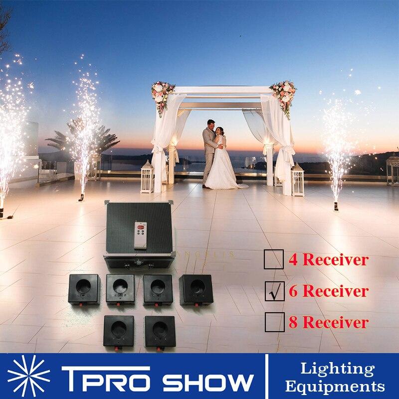4/6/8 Cues Control remoto inalámbrico receptor de efecto Piro sistema de fuente Base fuegos artificiales fríos Mini máquina de disparo para bodas